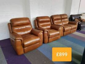 Tan leather 2 seater sofa and 2 chairs