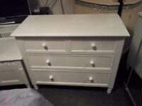 new chest of drawers and maching beding box,solid white wood