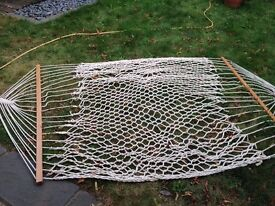 White rope hammock, two person, wooden ends