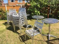 12 Metal Garden chairs and 3 tables for sale