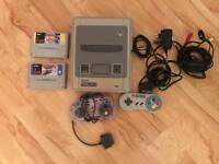 Super Nintendo (Classic SNES) with 2 Controllers and Games