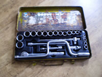 """Hilka 24 pieces 1/2"""" Socket Set old tools. up to 1"""" 1/4"""