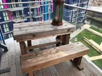 Garden Reclaimed Wood Table + 2 Benches