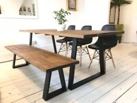 ARTEMIS Handmade Steel Leg Dining Table Bench and Chairs Trapezium Industrial Free Delivery