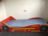 Kids racing car single bed with mattress