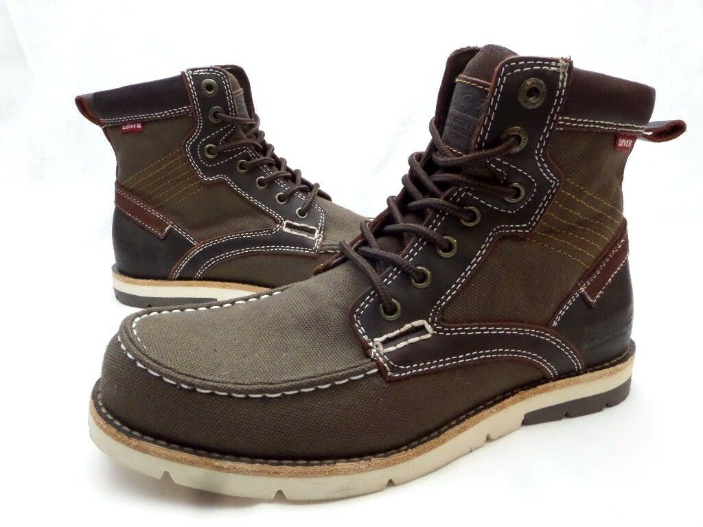 Levi's 1115 Brown Canvas Mixed Media Casua Lace Upl Boots Shoes Men's 8.5