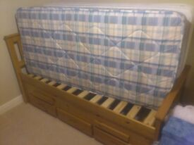 Solid Pine single bed with spare pull out bed