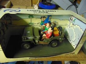 laurel and hardy /toy jeep/1.18 scale in box not corgi collect aberbargoed