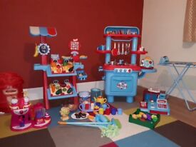 ELC Toy Play Kitchen, Market, House Set, Post box, Till, Ironing Board. Chop and play fruit.