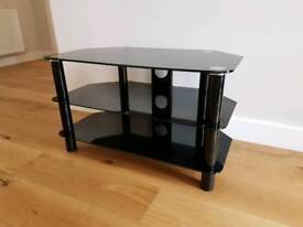 TV stand 3-tier black glass