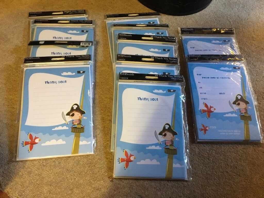 Job lot bundle of WH Smith\'s pirate party invitations and thank ...
