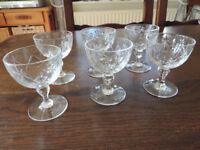 6 Cut Glass Port Glasses