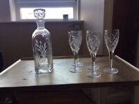 Champagne glasses with decanter