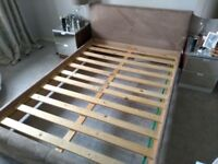 Double bed frame Wood/ suede headboard