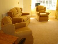 Multiyork 3 piece suite (sofa + 2 chairs) and pouffe
