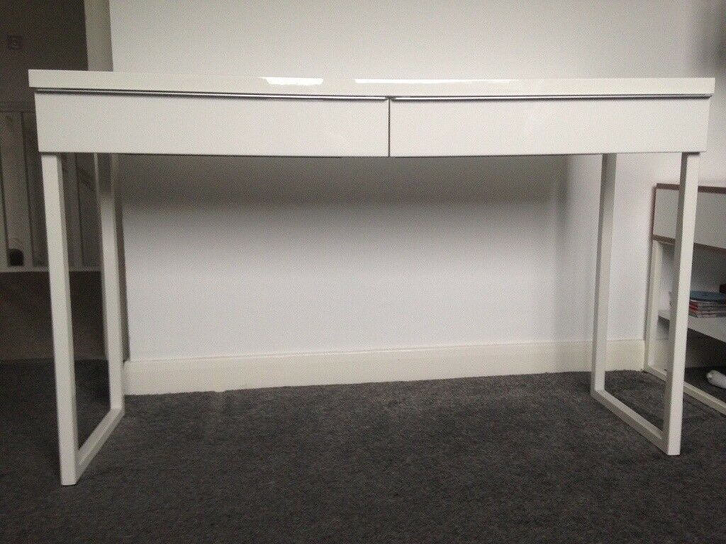 High Gloss White Desk Ikea Besta Burs In Cramond