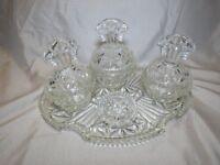 Glass or crystal vanity set