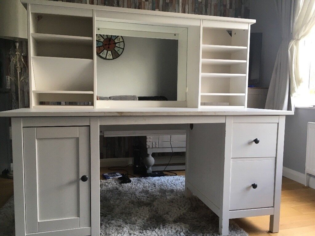 Ikea Hemnes Desk With Add On Unit All In White