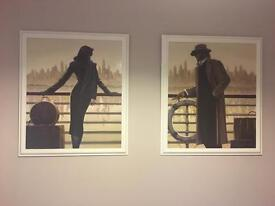 Two x large wooden art pictures