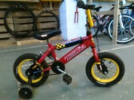 BOYS TONKA MONSTER BIKE 12 INCH WHEELS+STABILISERS RED/YELLOW GOOD CONDITION