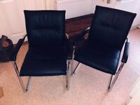 Leather / Metal Frame, Office Chair x2, Black