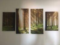 4 piece forest art canvas
