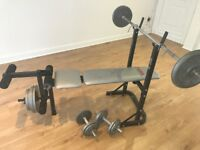 Used York 500 Fitness Bench with Weights