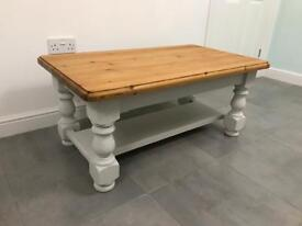 Solid pine coffee table with painted legs