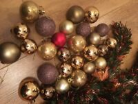 Large Box of Red & Gold Decorations