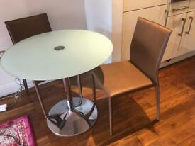 Palermo Dining Table with 2 Brown Leather Chairs