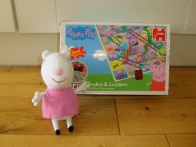 Suzy Sheep Soft Toy And Snakes And Ladders.
