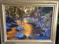 Beautiful original oil painting by Devon artist Toni G Heywood: Blue stones At Sunset
