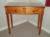 PINE CONSOLE TABLE / DRESSING TABLE / DESK WITH GLASS TOP