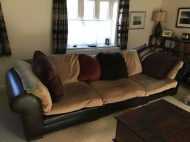 Leather and fabric corner sofa