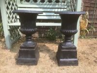 PAIR OF CAST IRON VICTORIAN STYLE MATCHING GARDEN URNS