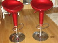 Red adjustable gas lift kitchen stools