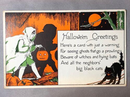 1920s HALLOWEEN Black Cat JOL Postcard ANTIQUE Series 1275 MILLER Art Co