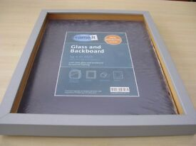 New Deep Matt silver Box Frame with Backing board and glass.