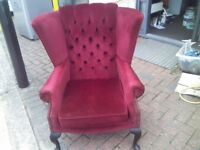 red antique wing back sofa arm chair good condition