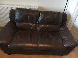 3 and 2 brown leather couches