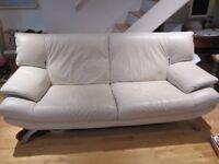 Cream leather sofa - ***BARGAIN***