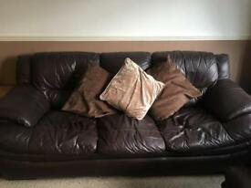 3 piece brown leather suite (sofa and armchairs)