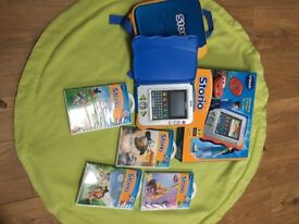 V-tech storio, Blue with 5 stories & Carry case, used