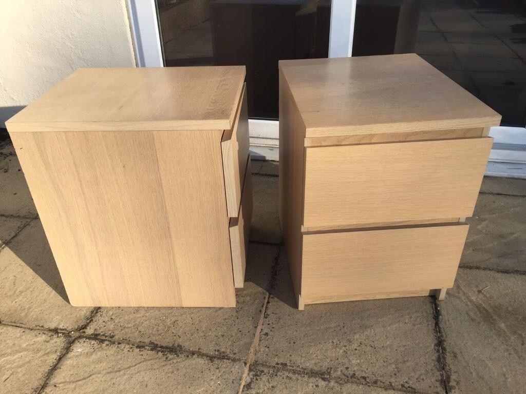 ikea malm bedside table light oak in wylam. Black Bedroom Furniture Sets. Home Design Ideas