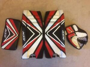 "CCM/TPS Street Hockey Goalie Set 22"" Pads, Catcher and Blocker Ages 10 to 16"