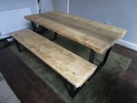 Reclaimed wood dining table, metal base table, bench, dining table, dining table and bench, tables,