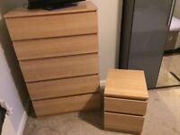 Chest of drawers and 2 x bedside tables