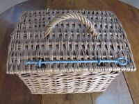 Cat, or Small Pet, Travel Wicker Basket