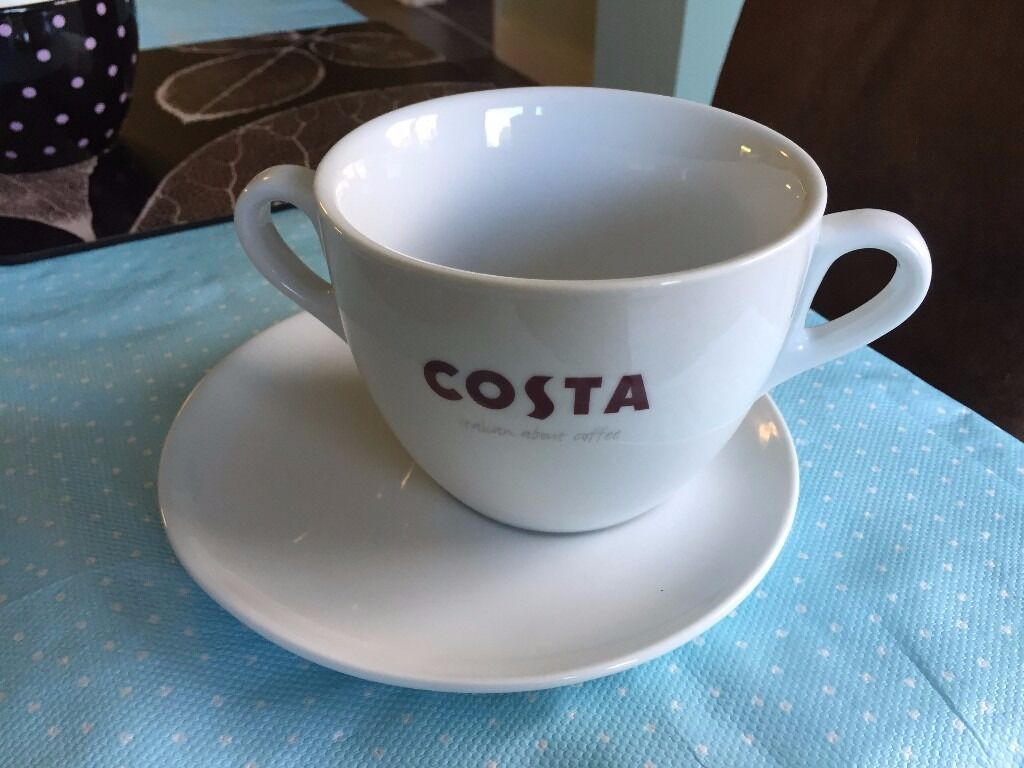 Large Costa Coffee Mug With 2 Handles And Saucer In York