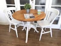 VINTAGE SOLID TABLE AND 2 CHAIRS FREE DELIVERY LDN🇬🇧🇬🇧SHABBY CHIC